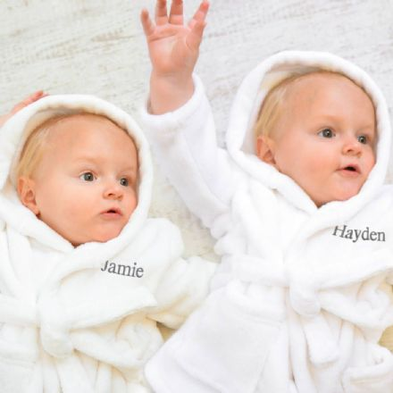 Personalised Twins Soft Baby Dressing Gowns In White